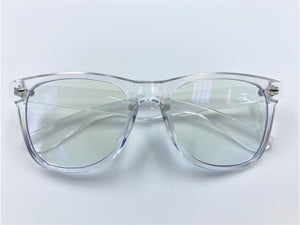 Blue light filtering glasses with clear frames