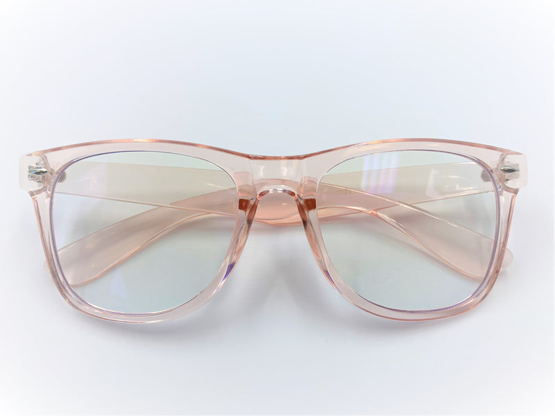 Blue light filtering glasses with translucent pink pastel frames