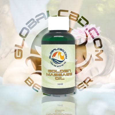 2oz Golden Massage Oil with 100 mg of Natural Pure Cold Pressed Hemp CBD Isolate and Coconut Oil