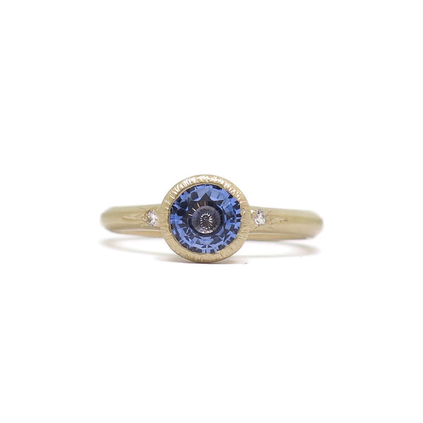 The Accented Modern- .99ct Ceylon Sapphire & 14k Yellow Gold