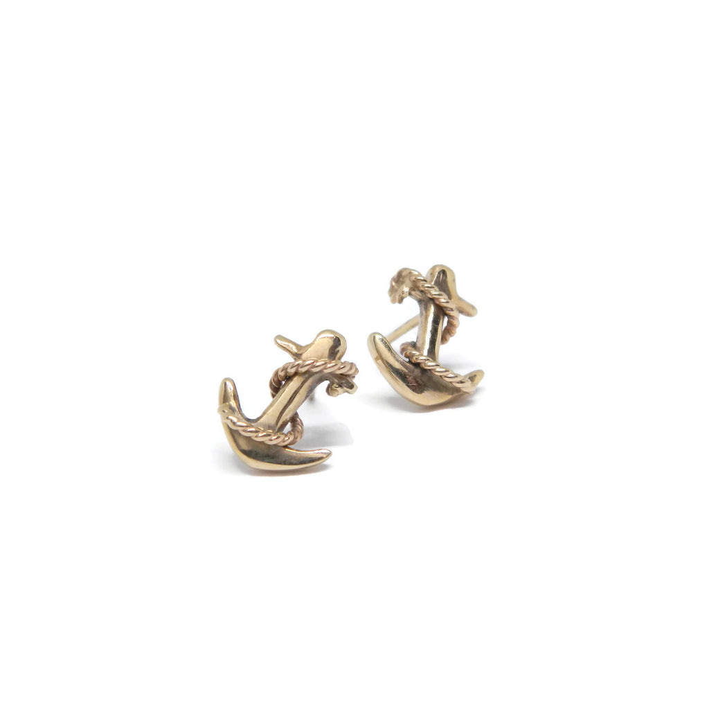 14k Yellow Gold Anchor Studs