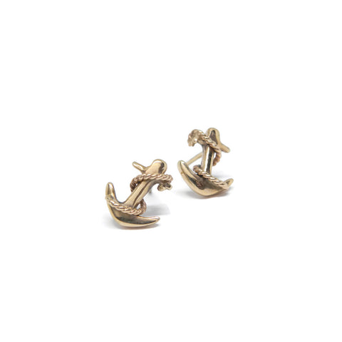 Anchor Studs- 14k Yellow Gold