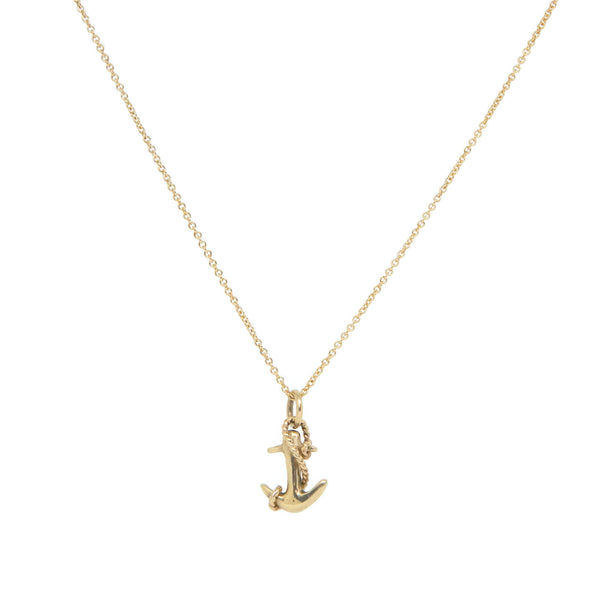 14k Yellow Gold Anchor Necklace