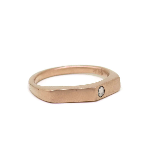 14k Rose Gold & Champagne Diamond Angle Ring
