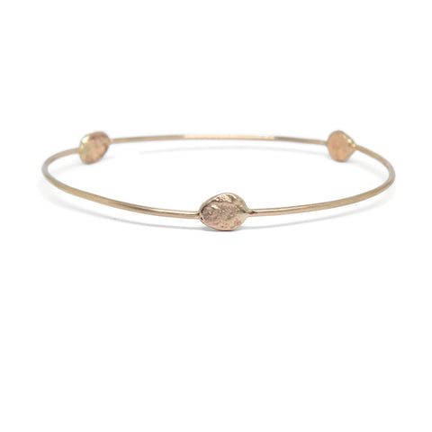 Beach Rock Bangle Bracelet- 14k Rose or Yellow Gold