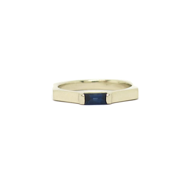 The Baguette- Blue Sapphire & 14k White Gold