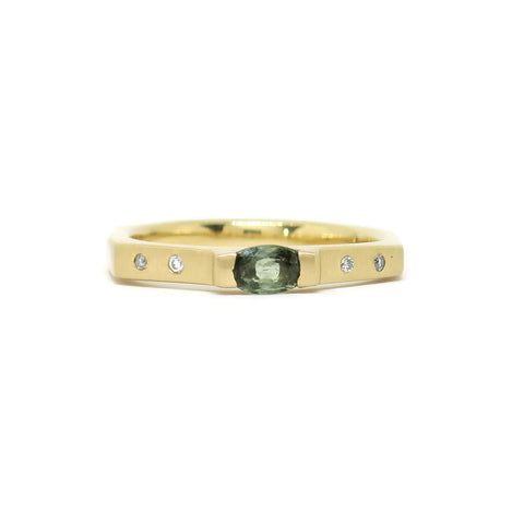 The Baguette- Green Sapphire, White Diamond & 14k Yellow Gold