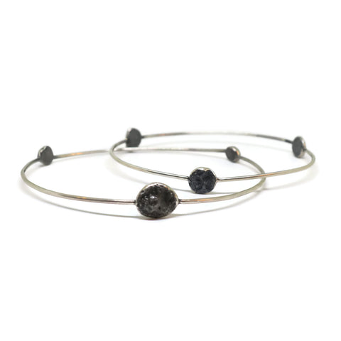 Beach Rock Bangle Bracelet- Silver