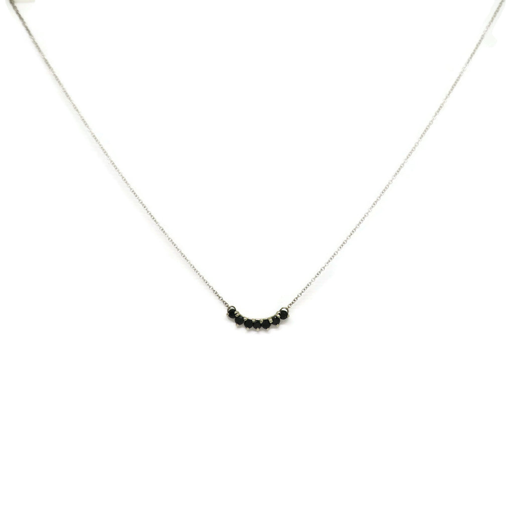 Black Spinel Curved Bar Necklace