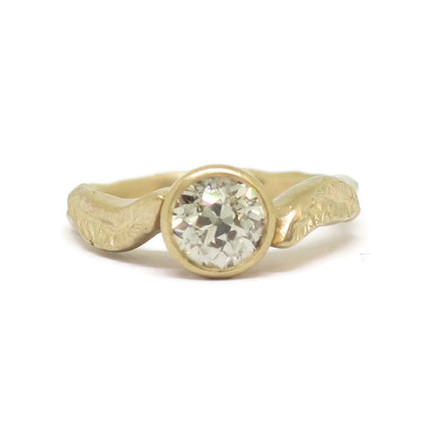 The Bohemian- Old Mine Cut Dark Diamond & 14k Yellow Gold