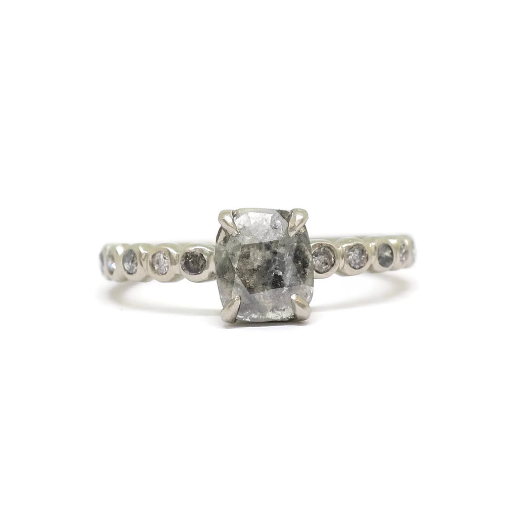 The Bubble Engagement Ring - Rose cut Grey Diamond, Salt & Pepper diamonds, 14k white gold