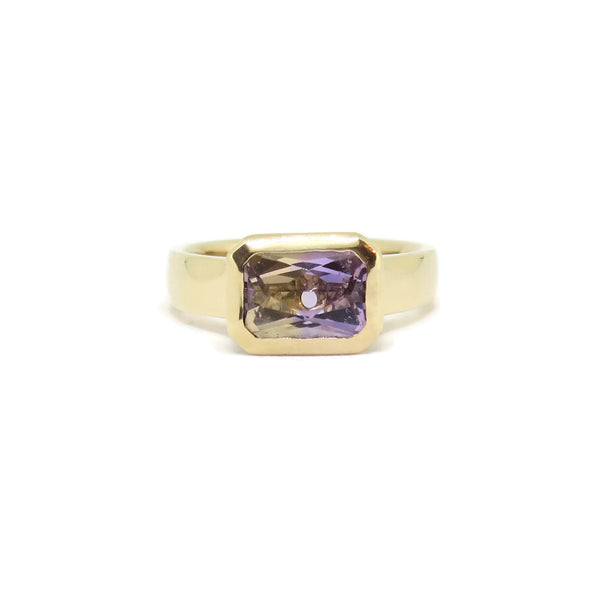 The Wide Cathedral Ring- Ametrine & 14k Yellow Gold