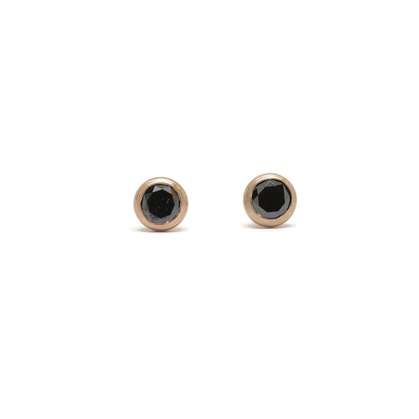 Just a sip! Cocktail Studs- Black Diamond & Rose Gold