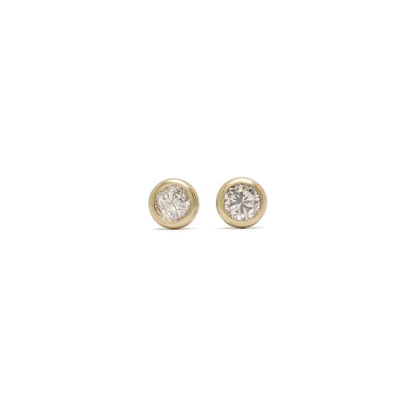 Just a sip! Cocktail Studs- Old Mine Cut Diamonds & Yellow Gold
