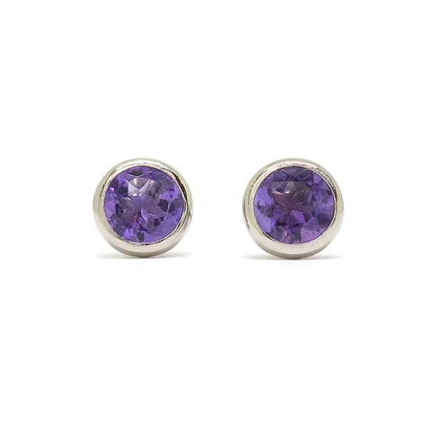 Cocktail Studs- Bright Purple Amethyst