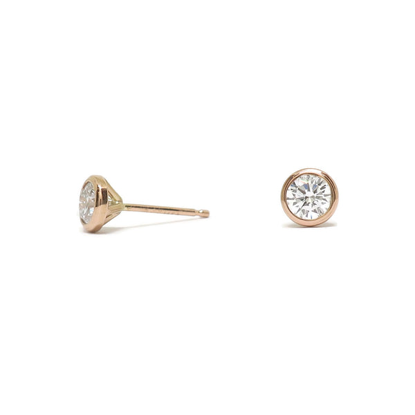 Cocktail Studs- Reclaimed Diamonds & 14k Rose Gold