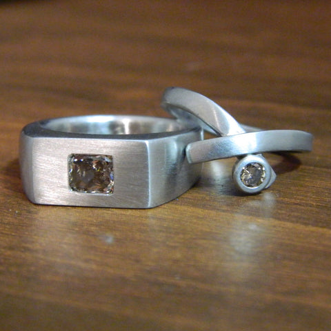 One of a kind wedding ring set for David and Brigid - e. scott originals