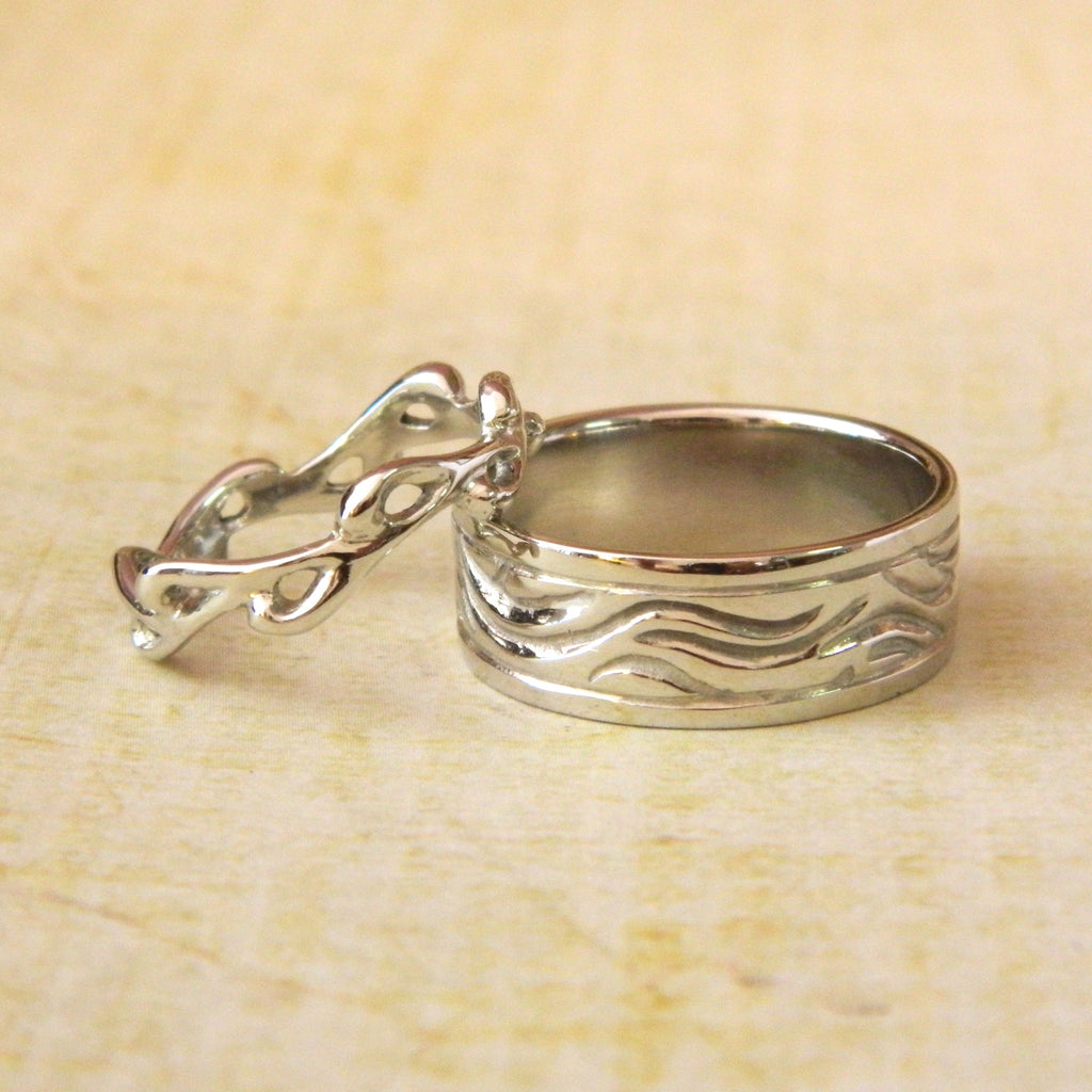 One of a kind wedding rings for Ryan and Karen - e. scott originals