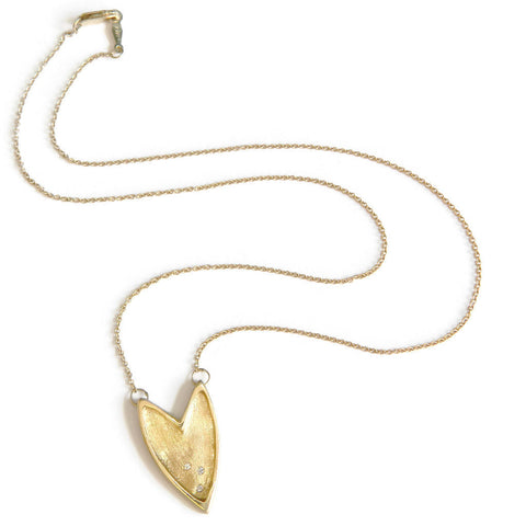 Shielded heart necklace- Gold & Diamonds