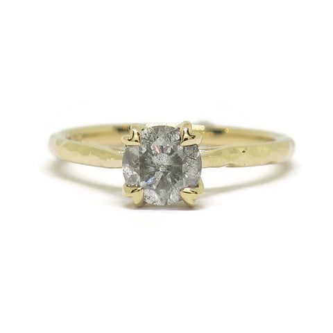The Dainty 4 Prong Flora with Texture- .96ct Salt & Pepper Diamond & 14k Yellow Gold
