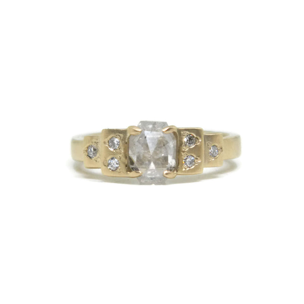 The Deco- 1.19ct Ice Grey Diamond, .1tcw White Diamonds & 14k Yellow Gold