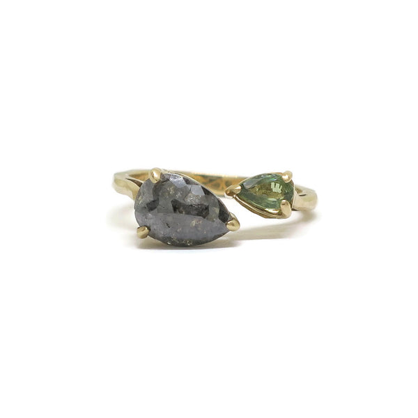 The Eden- Dark Grey Diamond, Pale Green Sapphire & 14k Yellow Gold