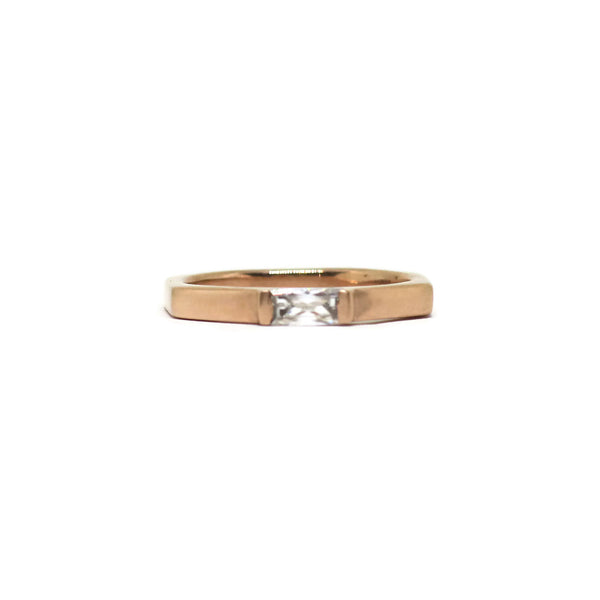 The Baguette- Moissanite & 14k Rose Gold