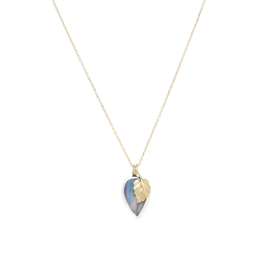 Opal Leaf Drop Necklace