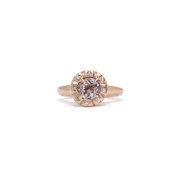 The Modern Halo- Peach Tourmaline