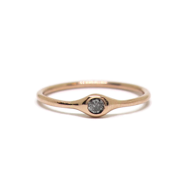 The Single Droplet- Salt & Pepper Diamonds & 14k rose gold