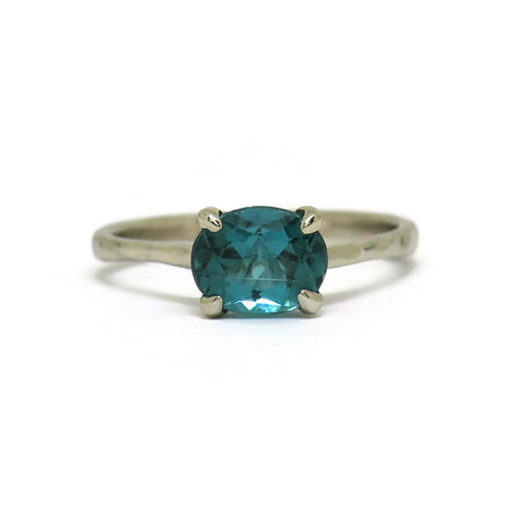 The Woven Tapered Solitaire- Teal Tourmaline & 14k White Gold