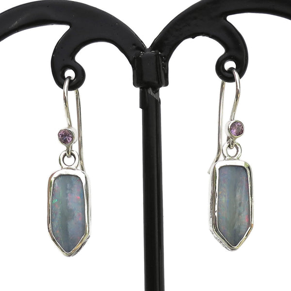 Opal Shield drop earrings