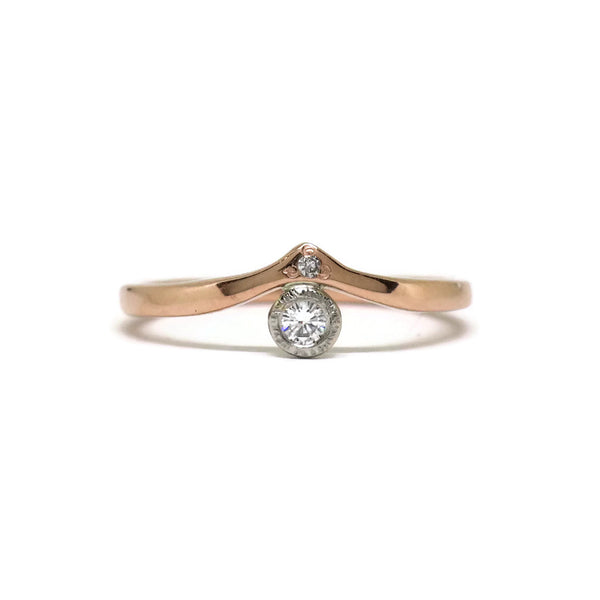 The Point- Reclaimed .10ct Diamond in Platinum & 14k Rose Gold