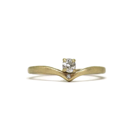 The Point- Old Mine Cut .16ct Diamond & 14k Yellow Gold
