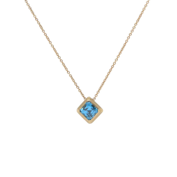 Rare Blue Tourmaline & 18k Yellow Gold Necklace