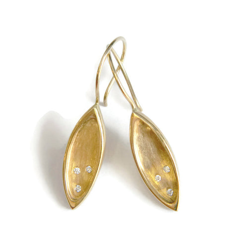 The Revival petal drop earrings-Gold & Diamonds