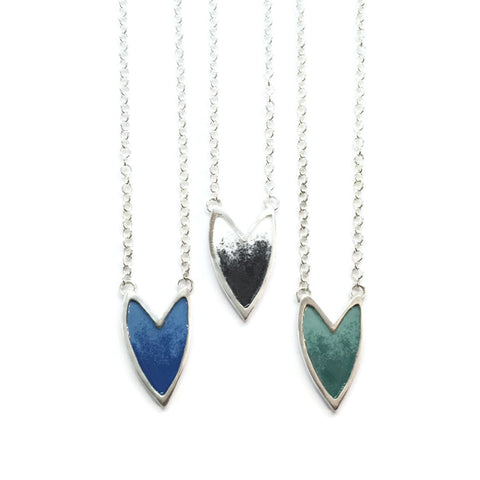 The Revival shielded heart necklace- Enamel