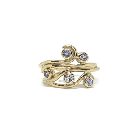 Swirl Women's Wedding Set - 14k Yellow Gold, Lavender Tanzanites, Diamond