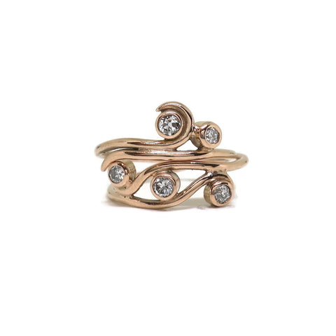 Swirl Women's Wedding Set - 14k Rose Gold, Old Mine Cut Diamonds