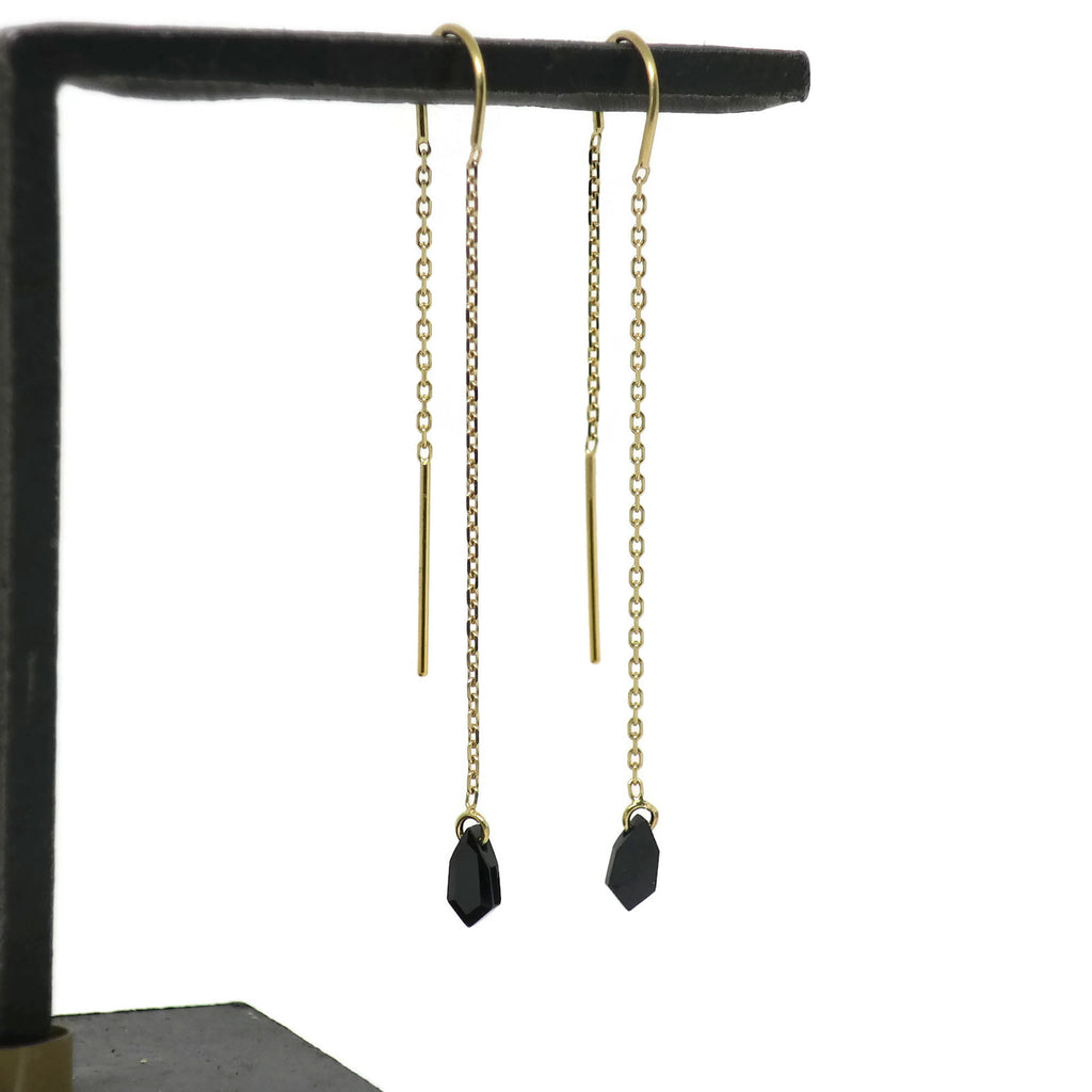 Threader Earrings- Black Spinel