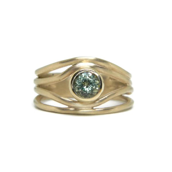 The Wave Engagement Ring- 14k Yellow Gold & Green Sapphire