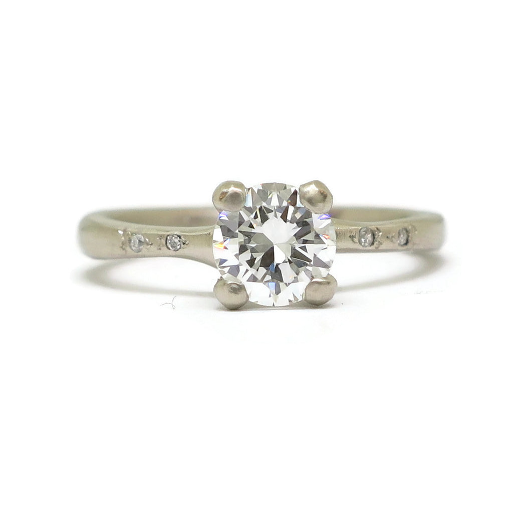 The Woven Solitaire with accents- .79ct Old European Cut