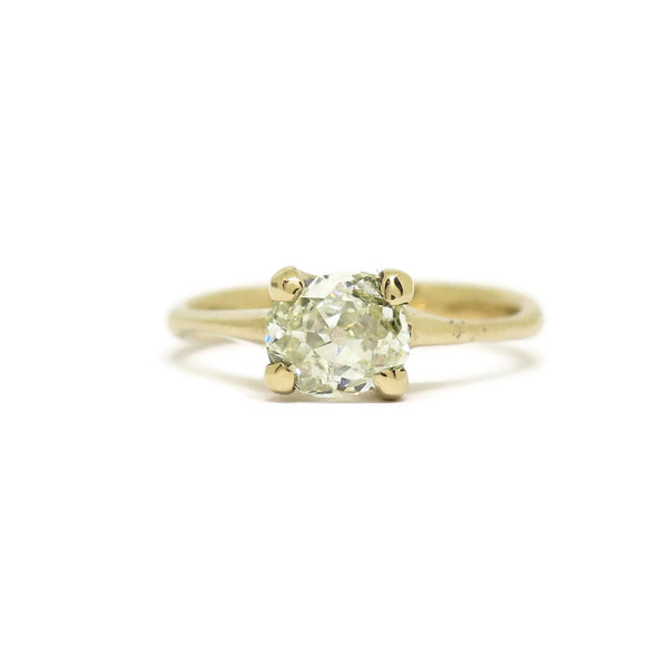 The Woven Solitaire- .86ct Old Mine Cushion Cut