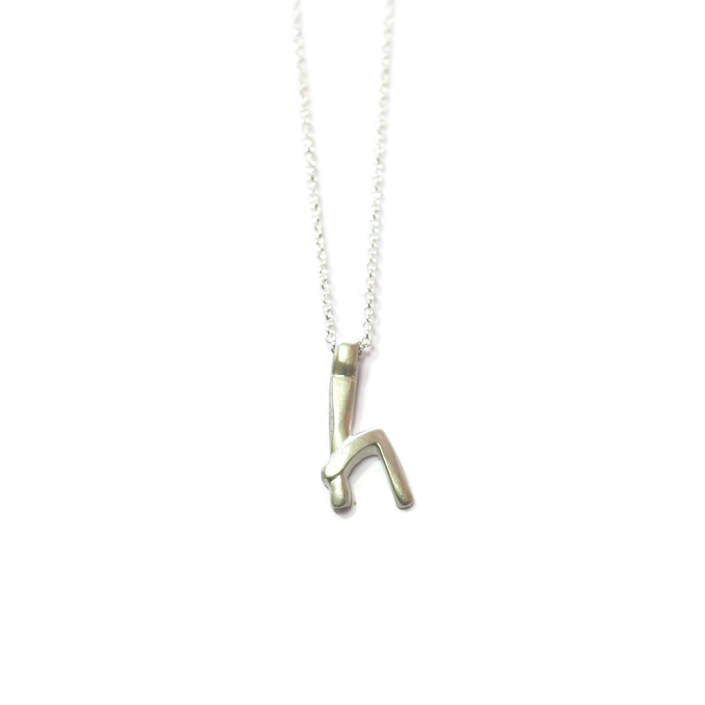 h- handwritten letter necklace