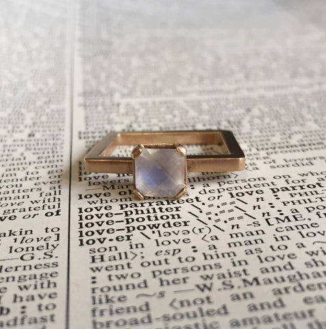 Moonstone & 14k Yellow Gold Square Ring