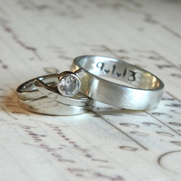 One of a kind wedding ring set for Jesse and Emily - e. scott originals