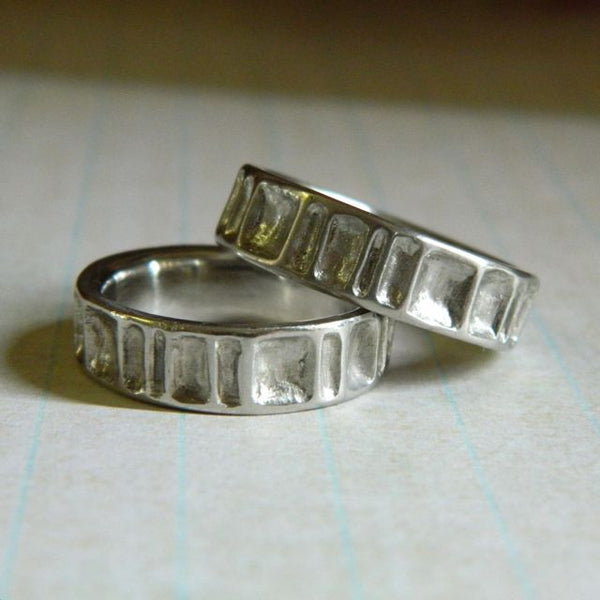 One of a kind wedding rings for Josh and Dennis - e. scott originals