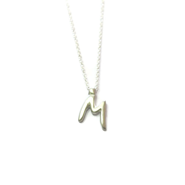 M - handwritten letter necklace