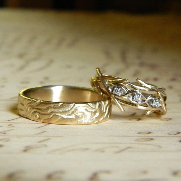 One of a kind wedding rings for Neva and Fredo - e. scott originals