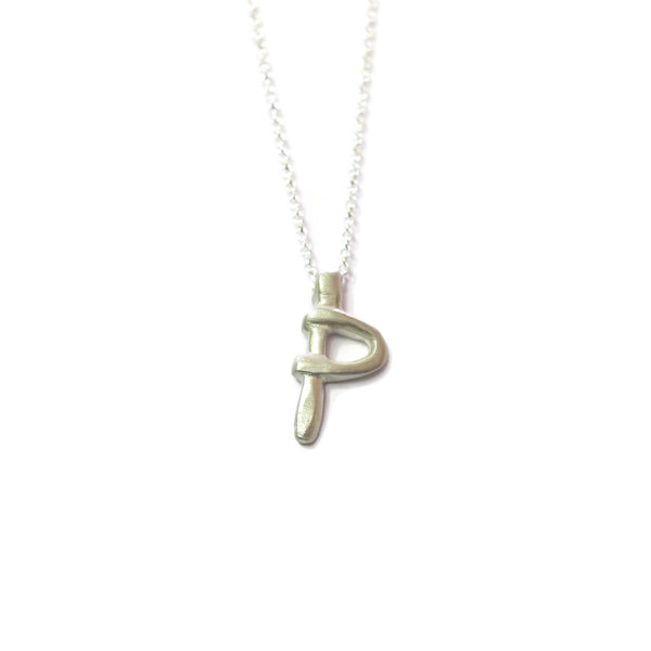P - handwritten letter necklace